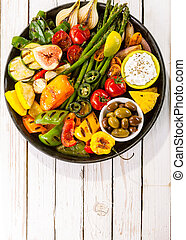 Colorful Grilled Vegetable Bounty on Picnic Table
