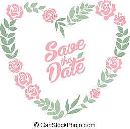 Save the date floral heart card. Vintage wedding invitation. Summer bright background.