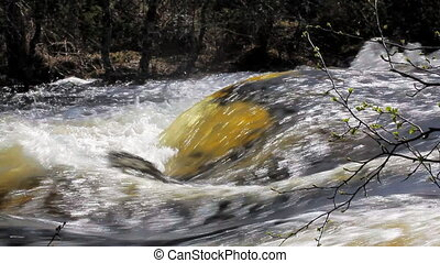 Beautiful shiny water flow 3 - Waterfall on the river with a...