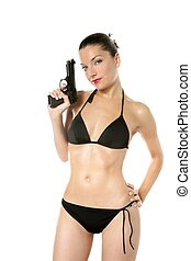 Beautiful sexy woman with black bikini and gun - Beautiful...