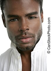 African american young model portrait over white background