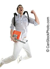 Happy student jump with college stuff in hand isolated on...