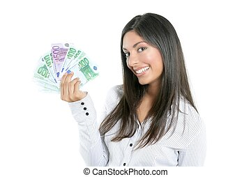Beautiful success businesswoman holding Euro notes -...