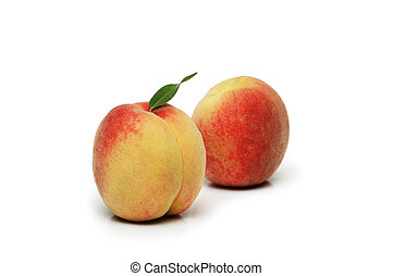 Two peaches isolated on the white background
