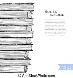 Books sketch background - Pile of books. Sketch on white...