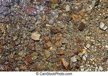 Brown river stone bottom background texture with water...