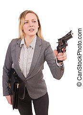 Pretty office employee with briefcase and handgun isolated...
