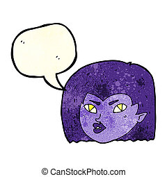 cartoon vampire face with speech bubble