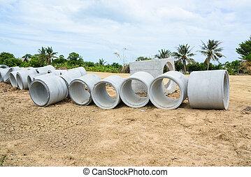 concreto, drenaggio, tubi per condutture, Accatastato, per,...