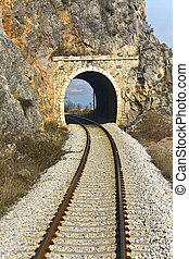 Railroad across a mountain at north Greece