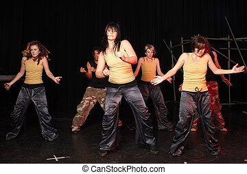 Dancers on stage - A couple of freestyle hip-hop dancers...