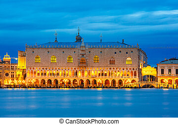 Doges Palace and Ponte dei Sospiri, night, Venice - View...