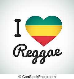 I love Reggae Heart illustration, Jamaican music logo...