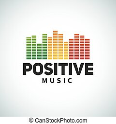 Reggae music equalizer logo emblem vector design. Positive...