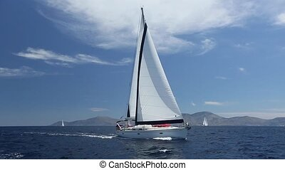 Boat in sailing regatta. Luxury. - Boat in sailing regatta....