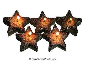 Star-Shaped Candles on White Background