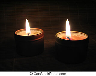 Close up of a burning candle in the night