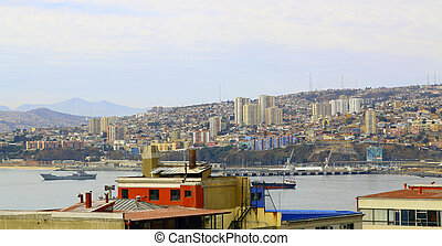 Panorama of Valparaiso - Chile, Latin America colorful...