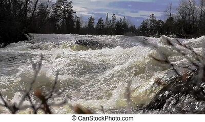 The rapid flow of the river 5 - Quick taiga river Low camera...