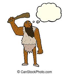 caricatura, neandertal, con, pensamiento, burbuja,