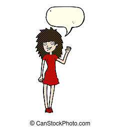 cartoon happy woman waving with speech bubble