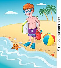 Kid Standing By the Seashore - Cartoon illustration of a...