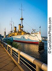 Ship docked on Delaware River, in Philadelphia,...