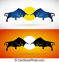 Vector image of an bull fight on white background and orange background, Logo, Symbol