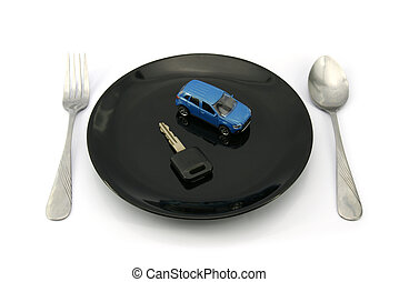 Car on black dish ready to serve - 4WD Car and key on black...