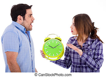 Women angry on her boyfriend for being late by showing the...