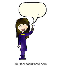 cartoon friendly witch girl with speech bubble