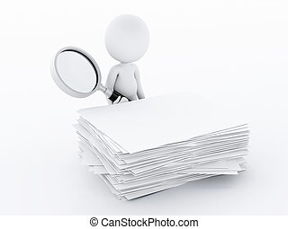 3d white people with magnifying glass examines files