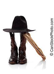 cowboy hat, boots and lasso on white
