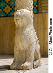 Lion column - Lion on marble column base in Golestan Palace...