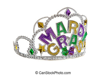 A mardi gras tiara on white