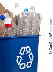 Recycle can with recyclables - A blue recycle can with...