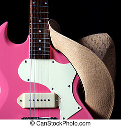 rosa, guitarra, Occidental, sombrero