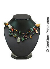 Necklace with many stones isolated on the white