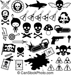 Set of danger skull icons - Set of silhouette and outlined...