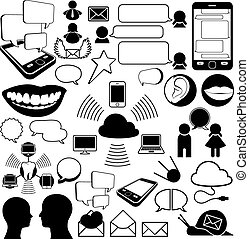Collection of communications icons encompassing sound,...