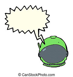 cartoon astronaut face with speech bubble