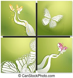 Set of backgrounds with butterflies