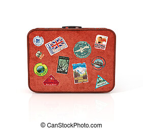 Travel Suitcase with stickers Clipping path included...