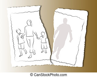 alcoholism - family on a white torn paper background