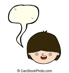 cartoon happy face with speech bubble