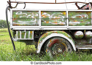 Pickup truck painting - An old abandoned pickup truck,...