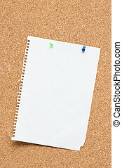 Blank page attached to corkboard with two pins