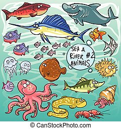Sea and river animals - part 2. Hand drawn cartoon sea life...