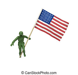Soldier waving American flag - Soldier as represented by a...