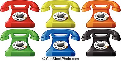 Telephone - Vintage telephone in six different colors